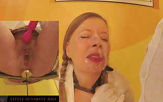 Huge load of cum in mouth and face of the Little Sunshine MILF