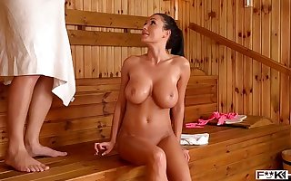 Sauna tit fuck with Patty Michova leads to intense Hardcore pussy banging