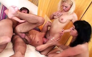 Bi-Sex Foursome with two Couple and her Big Dick Boys