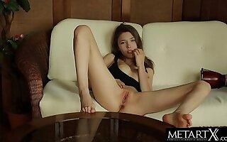 Watch Mila Azul's big beautiful gut jiggle as she masturbates!