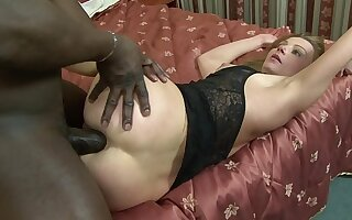 MILF slag Suzy sucks black cock before getting anal added to pussy rammed